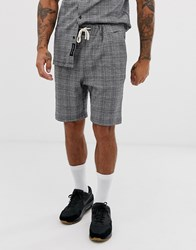 Native Youth Two Piece Short With Check In Black
