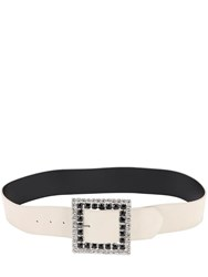 Alessandra Rich 50Mm Suede And Crystal Belt White