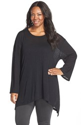 Plus Size Women's Sejour Burnout Stripe Kimono Sleeve Tee Black
