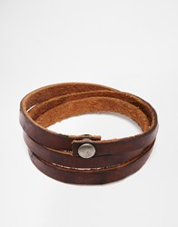 Jack And Jones Jack And Jones Leather Wraparound Bracelet Brown
