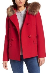 Kate Spade Women's New York Faux Fur Trim Hooded Peacoat Posy Red