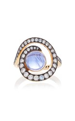 Noor Fares Planet Spiral Ring In Yellow Gold With Iolite And Diamonds Blue