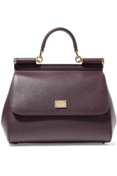 Dolce And Gabbana Sicily Medium Textured Leather Tote Burgundy