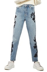 Topshop Women's Embroidered Mom Jeans