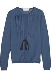 Valentino Bow Embellished Pintucked Cotton Blend Cardigan Blue