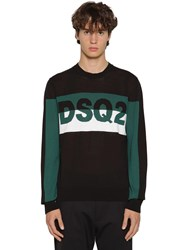 Dsquared Logo Jacquard Knit Cotton Sweater Black
