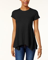 Style And Co Petite Cotton Handkerchief Hem Top Created For Macy's Deep Black