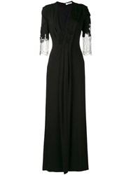 Blumarine Lace Detail Long Gown Women Cotton Polyamide Polyester Viscose 44 Black
