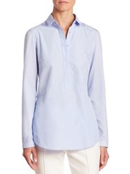 Akris Punto Pleat Back Blouse Light Denim