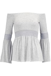 Bailey 44 Smocked Stretch Jersey Top Light Gray