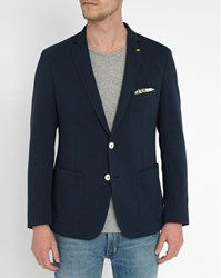 Vicomte A Navy With Yellow Lining Double Face Jersey Blazer Blue