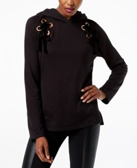 Inc International Concepts Petite Lace Up Hoodie Created For Macy's Deep Black
