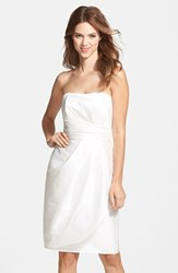 Women's Alfred Sung Wrapped Strapless Satin Dress Snow White