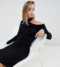 Lost Ink Petite Bodycon Jumper Dress With Tie Neck And Exposed Shoulder In Ribbed Knit Black