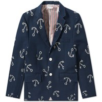 Thom Browne Unconstructed Anchor Blazer Blue