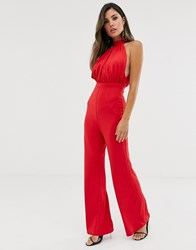 Girl In Mind High Neck Ruched Wide Leg Jumpsuit Red