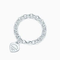 Tiffany And Co. Return To Tiffanytm Heart Tag In Silver With Enamel Finish On A Bracelet Large. No Gemstone