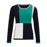 Viyella Petite Pure Merino Colour Block Jumper Green Multi