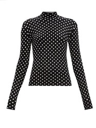 Balenciaga High Neck Polka Dot Jacquard Velvet Top Black White