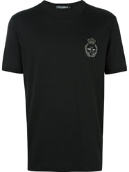 Dolce And Gabbana Crown Bee Embroidered T Shirt Black