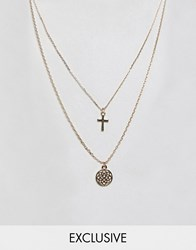 Reclaimed Vintage Inspired Cross And Chakra Multirow Necklace Gold