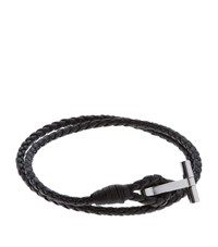 Tom Ford Double Wrap T Leather Bracelet Unisex Black
