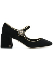 Dolce And Gabbana Chunky Heel Mary Janes Goat Skin Leather Suede Black