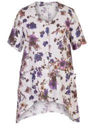 Chesca Floral Printed Linen Tunic White Purple