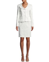 Albert Nipon Two Piece Jacquard Suiting Set W Jacket And Dress Pearl