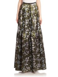 Erdem Amanda Tiered Skirt Olive Multi