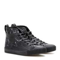 Balenciaga Printed Canvas High Top Sneakers Noir Blanc