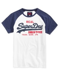 Superdry Men's Vintage Graphic Print Logo Raglan Sleeve Cotton T Shirt Optic Princeton Blue Marl