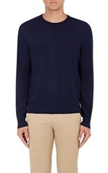 Piattelli Men's Merino Wool Crewneck Sweater Navy