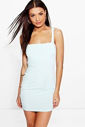 Boohoo Wide Strap Square Neck Ribbed Bodycon Dress Mint