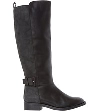 Dune Tinsley Leather Knee High Buckle Boots Black Leather