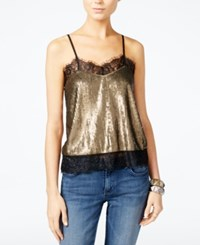 Guess Camille Sequined Top Vintage Golden Sequin