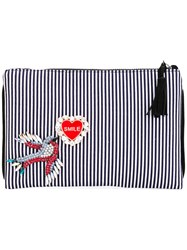 Lisa C Bijoux Embellished Stripe Clutch Women Cotton Metal Glass One Size Blue