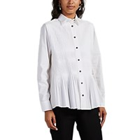 Cedric Charlier Pleated Cotton Poplin Blouse Ivorybone