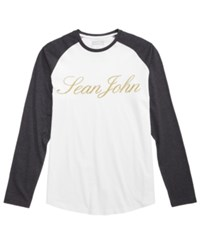 Sean John Men's Raglan Graphic Print T Shirt Bright White
