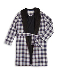 Ugg Fleece Lined Plaid Robe Navy
