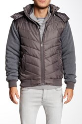 Yoki Knit Sleeve Bubble Jacket Gray