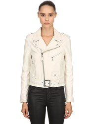 Schott Perfecto Leather Biker Jacket Off White
