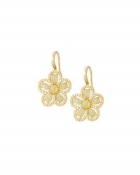 Roberto Coin Margherita 18K Yellow Gold Diamond And Yellow Sapphire Floral Drop Earrings