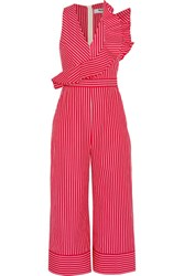 Msgm Ruffled Striped Cotton Poplin Jumpsuit Red