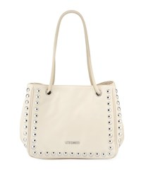 Love Moschino Studded Faux Leather Satchel Bag Ivory