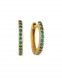 Dominique Cohen 18K Yellow Gold And Blue Diamond Huggie Hoop Earrings