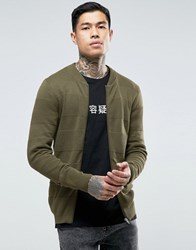 Asos Knitted Bomber Jacket With Textured Stripes In Muscle Fit Khaki Green