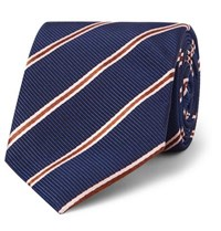 Kingsman Drake's 8.5Cm Striped Silk And Cotton Blend Faille Tie Blue