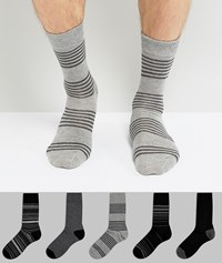 Burton Menswear 5 Pack Socks In Grey With Stripe Grey