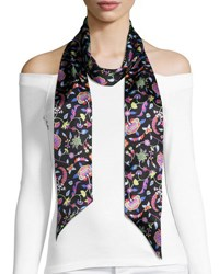 Liberty London Astrid Skinny Floral Silk Twill Scarf Black